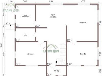 Картинка (5) Планировка 1-го этажа дома 10х13 (ДБ-64)