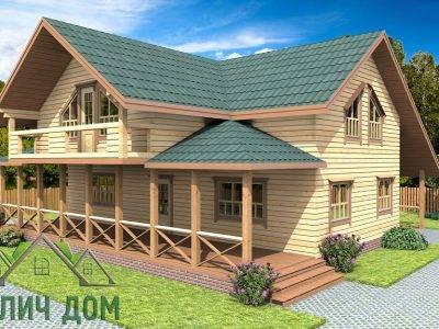 ДБ-74 | Дом из бруса 12х12 с балконом и террасой