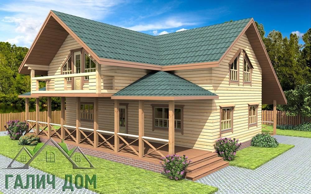 Картинка (1) Дом из бруса 12х12 с балконом и террасой (ДБ-74)