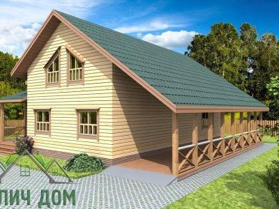 Картинка (2) Дом из бруса 12х12 с террасой (ДБ-74)