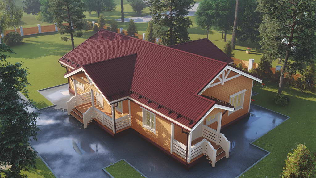 Картинка (1) Одноэтажный дом из бруса 13х15
