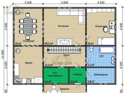 Картинка (5) План 1-го этажа дома 9х12 (ДБ-96)