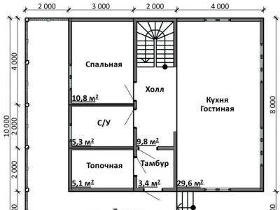Картинка (5) Планировка 1-го этажа дома (ДБ-101)