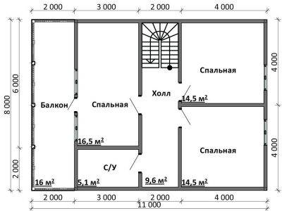 Картинка (6) Планировка 2-го этажа дома (ДБ-101)