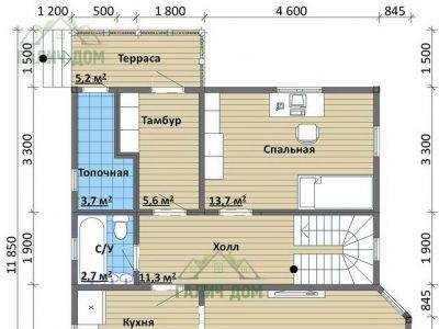 Картинка (5) Планировка 1-го этажа дома (ДБ-102)