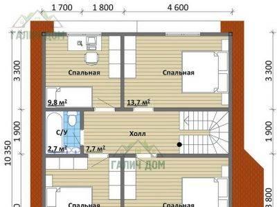 Картинка (6) Планировка 2-го этажа дома (ДБ-102)