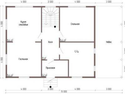 Картинка (8) 2-й вариант планировки 1-го этажа (ДБ-73)