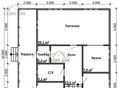 Картинка (5) План 1-го этажа дом 10х10 (ДБ-90)