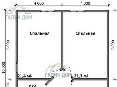 Картинка (6) План 2-го этажа дом 10х10 (ДБ-90)
