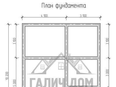 Картинка (7) План фундамента дома из бруса 7 на 10 (ДБ-22)