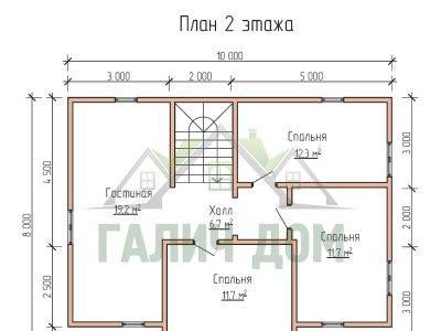 Картинка (6) Планировка 2-го этажа дома 8х14 (ДБ-66)