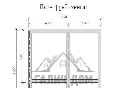 Картинка (7) План фундамента дома из бруса 7 на 8 с мансардой