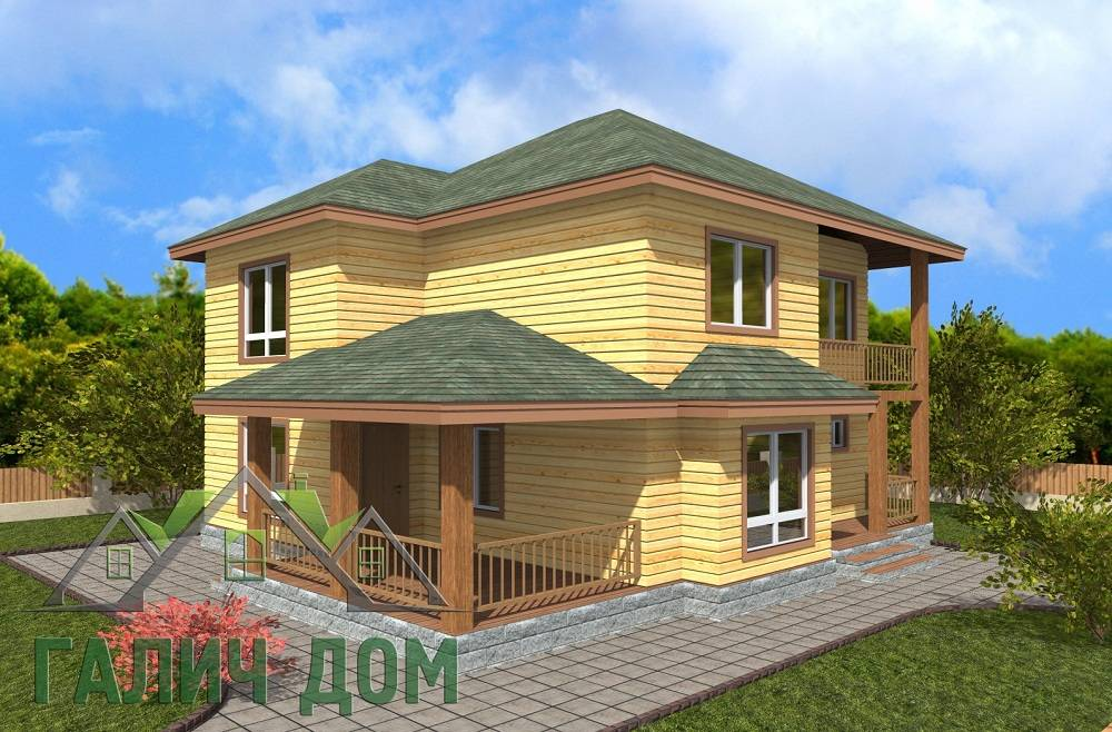 Картинка (1) Двухэтажный дом из бруса 9х10 (ДБ-68)