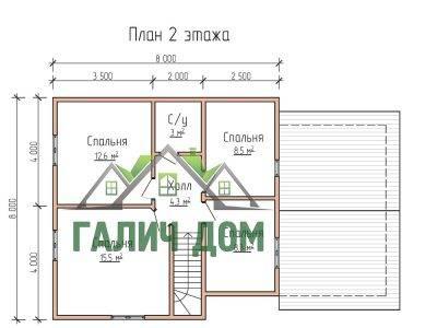 Картинка (6) Планировка 2-го этажа дома 8х12 (ДБ-73)