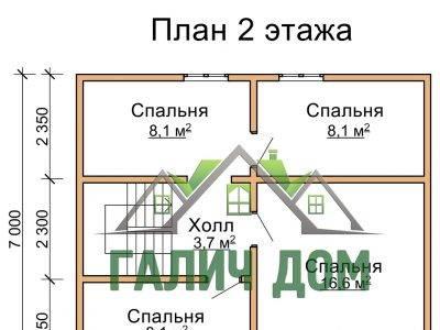 Картинка (6) Планировка 2-го этажа дома из бруса 8х8 (ДБ-24)