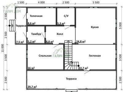 Картинка (5) Планировка 1-го этажа дома 11х13 (ДБ-75)