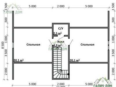 Картинка (6) Планировка 2-го этажа дома 11х13 (ДБ-75)