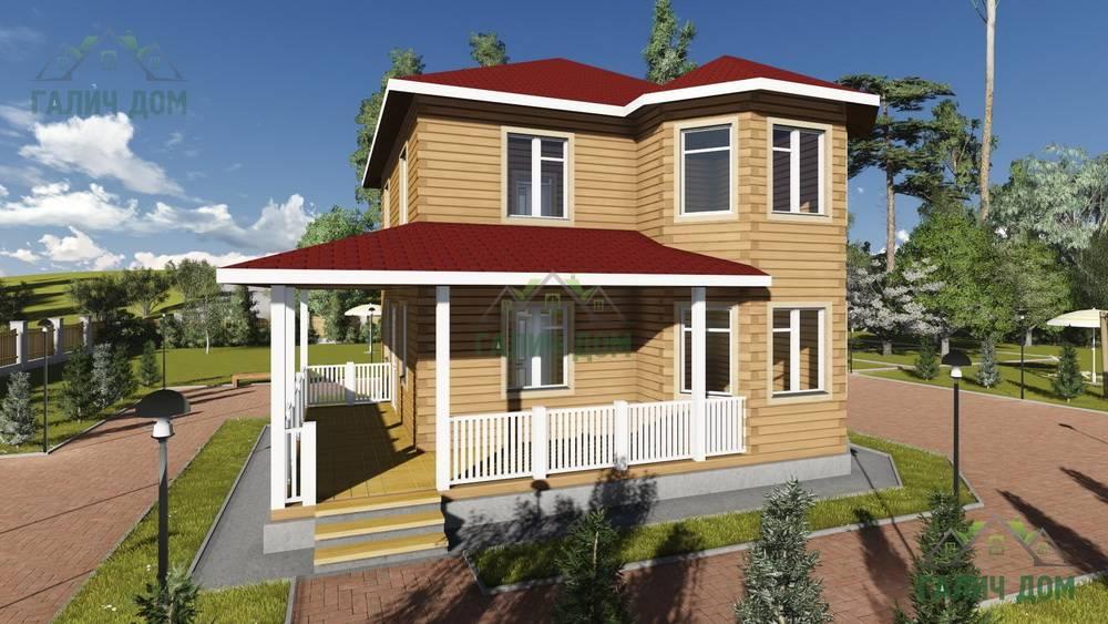 Картинка (1) Двухэтажный дом 10х10 с эркером и террасой (ДБ-76)