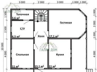 Картинка (5) Планировка 1-го этажа дома 10х10 (ДБ-76)
