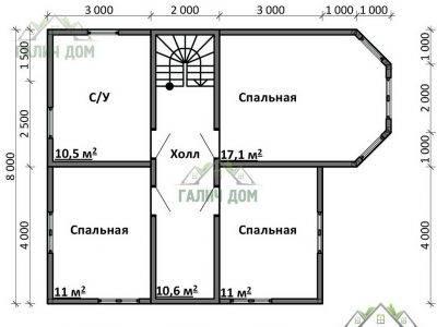 Картинка (6) Планировка 2-го этажа дома 10х10 (ДБ-76)