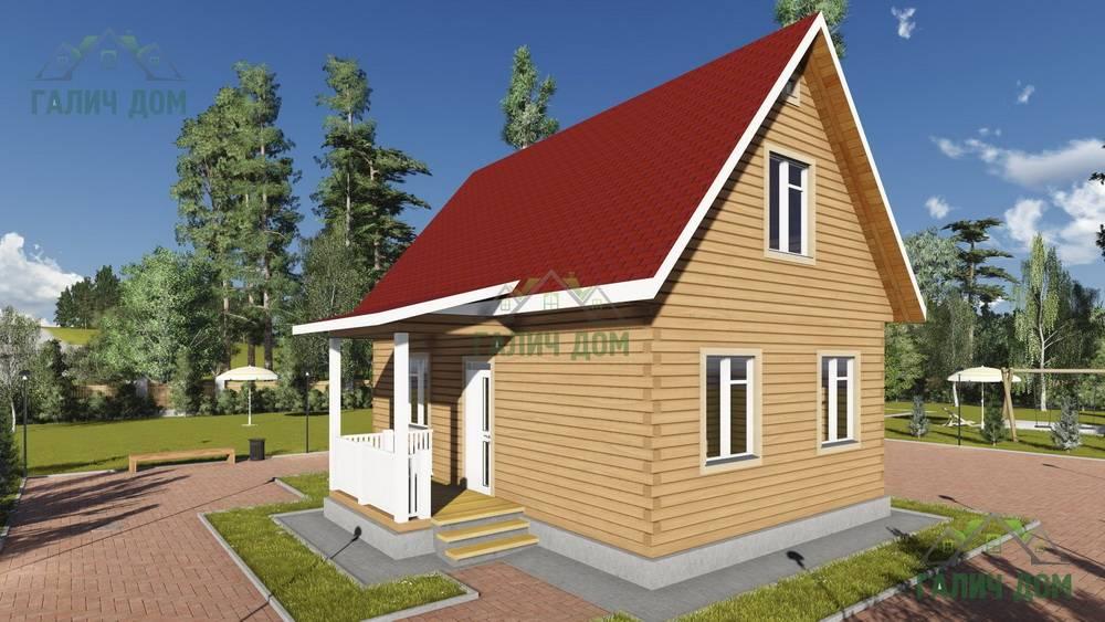 Картинка (1) Жилой дом из бруса 8 на 9 с мансардой (ДБ-78)