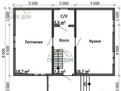Картинка (5) Планировка 1-го этажа дома 8 на 9 (ДБ-78)