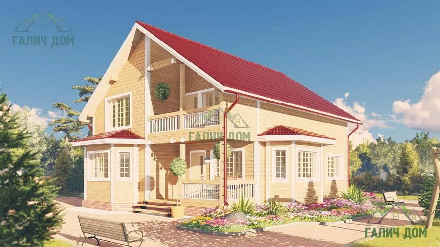 Картинка (1) Дом из бруса 10 на 13 с балконом (ДБ-62)