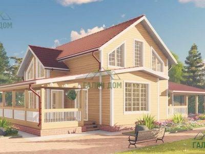 Картинка (3) Проект дома 13 на 15 с навесом (ДБ-65)