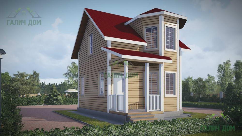 Картинка (1) Дачный дом из бруса 8х7 с эркером (ДБ-41)