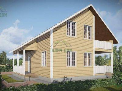 Картинка (4) Проект дачного дома 9х9 с балконом (ДБ-59)