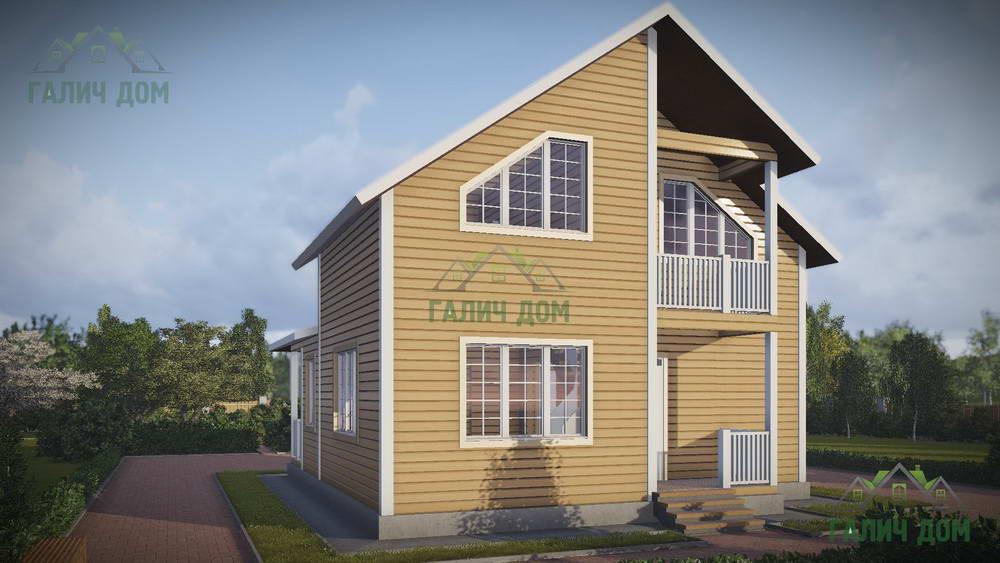 Картинка (1) Дом из бруса 9х10 с балконом (ДБ-43)