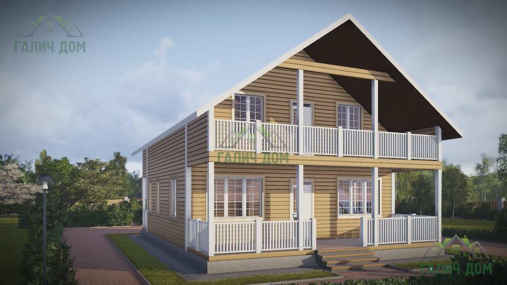 Картинка (1) Дом из бруса 8х12 с балконом (ДБ-48)