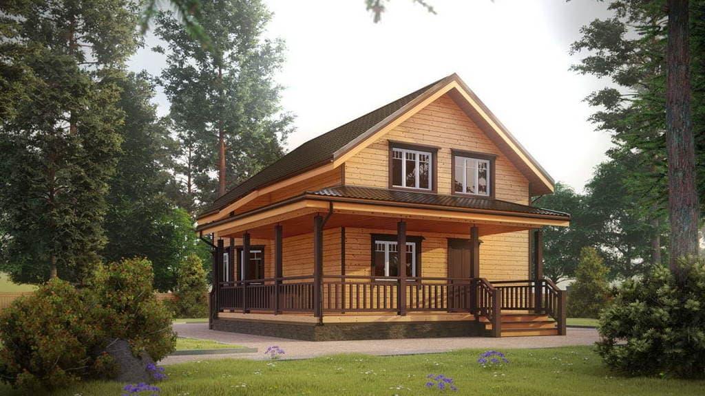 Картинка (1) Дом из бруса 9 на 9 с террасой (ДБ-31)