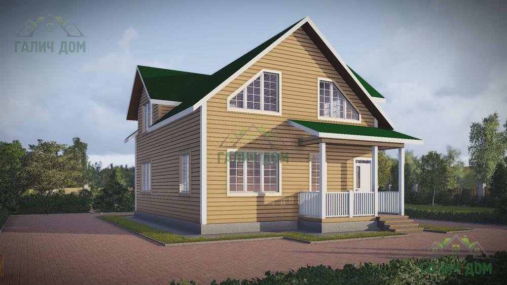 Картинка (1) Дом из бруса 8х11 с кукушкой (ДБ-49)
