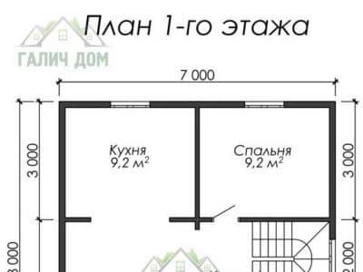 Картинка (5) Планировка 1-го этажа дома из бруса 7 на 10 (ДБ-22)