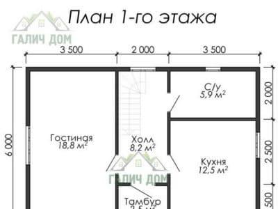 Картинка (5) Планировка 1-го этажа дома из бруса 7х8 с мансардой (ДБ-21)