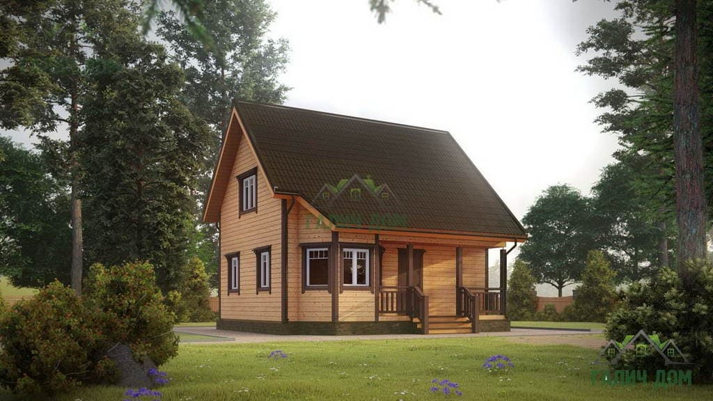 Картинка (1) Дом из бруса 7х7,5 с мансардой (ДБ-30)