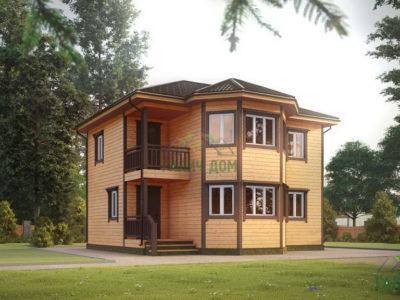 ДБ-67 | Двухэтажный дом из бруса 9х9 с эркером
