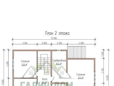 Картинка (6) Планировка 2-го этажа дома 9х12 (ДБ-72)