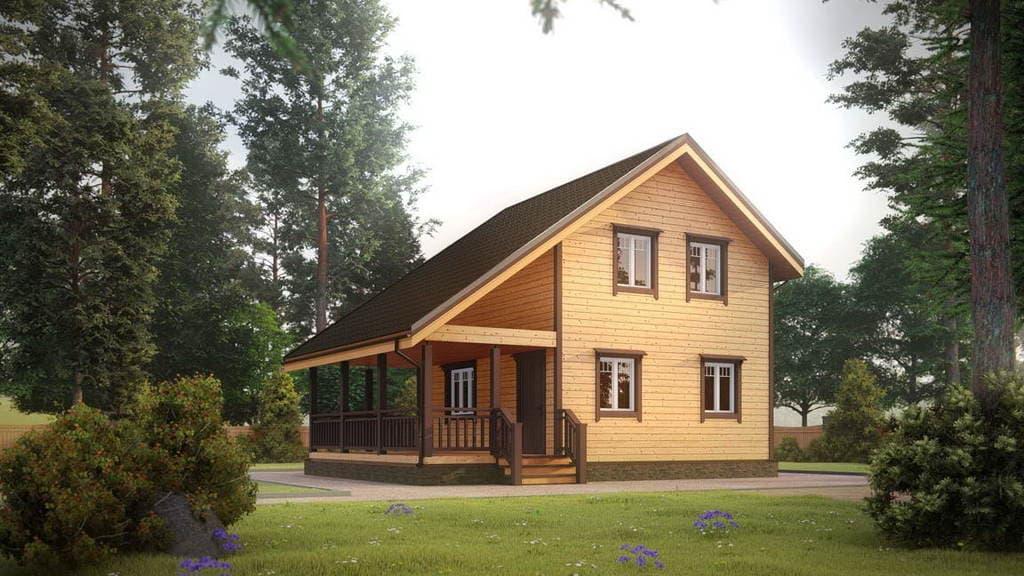 Картинка (1) Дом из бруса 7х9 с террасой (ДБ-34)