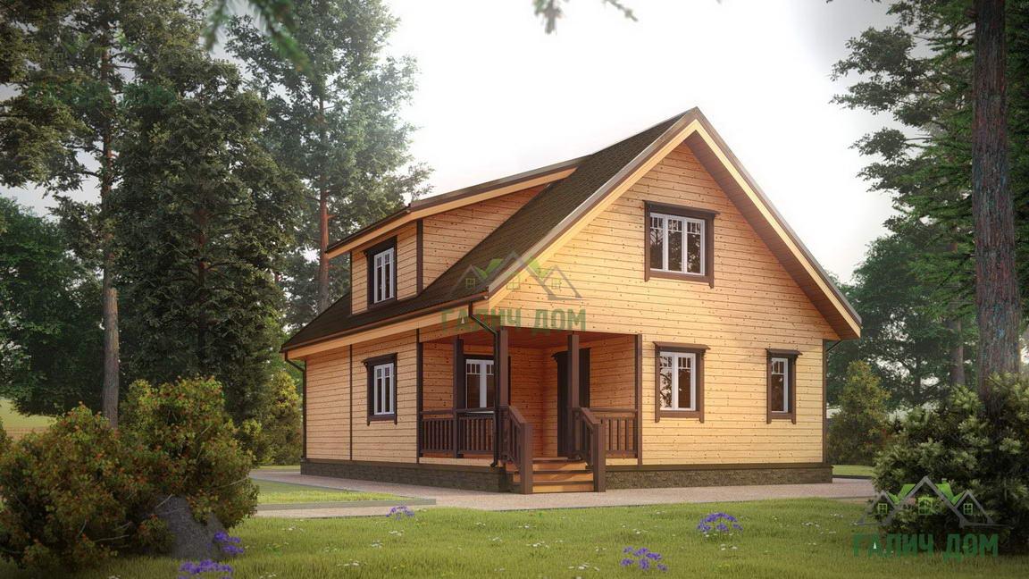 Картинка (1) Дом из бруса 8 на 11 с мансардой (ДБ-18)