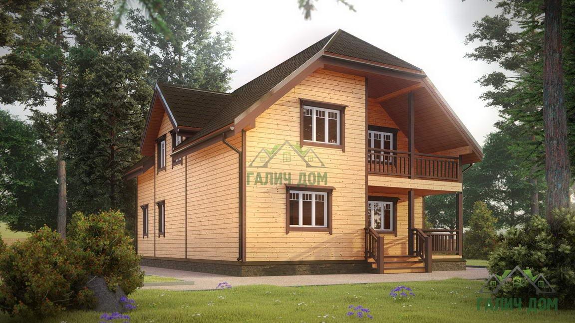 Картинка (1) Дом из бруса 9 на 12 с большими окнами (ДБ-19)