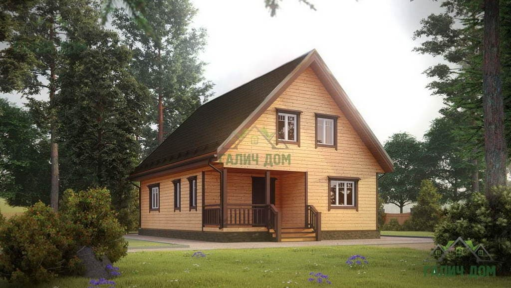 Картинка (1) Дом из бруса 8 на 11 с мансардой (ДБ-16)