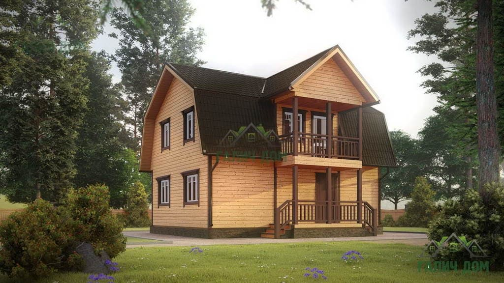 Картинка (1) Дом из бруса 7х9 с мансардой (ДБ-8)