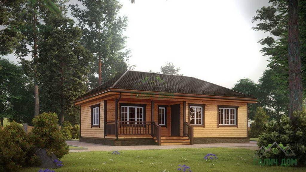 Картинка (1) Одноэтажный дом из бруса 8х11 (ДБ-1)