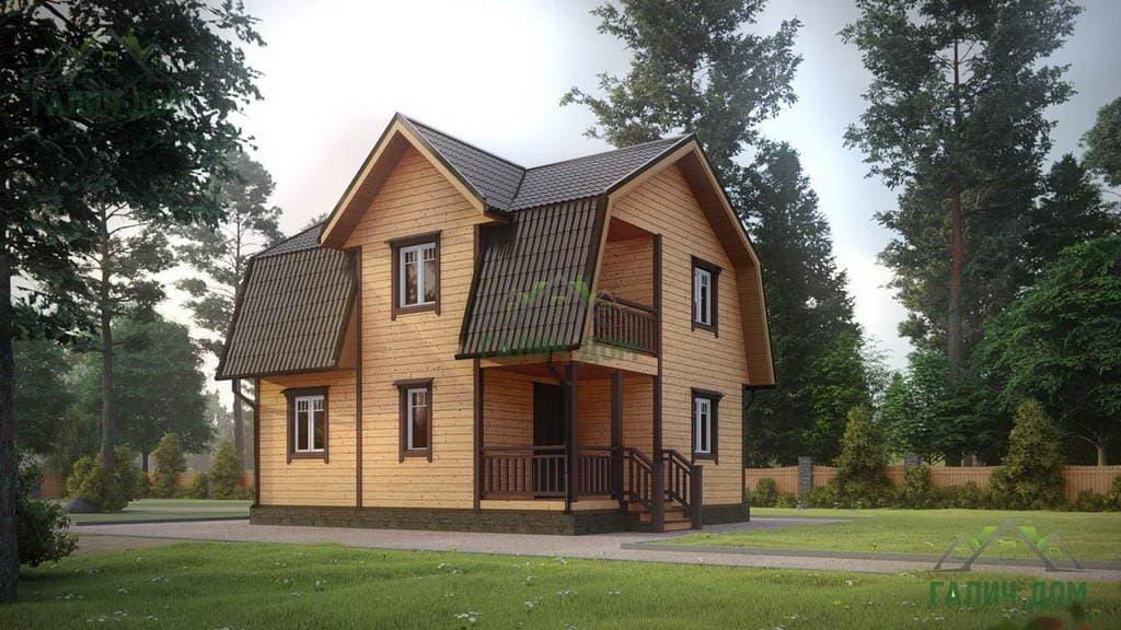 Картинка (1) Дом из бруса 7 на 8 с мансардой (ДБ-11)