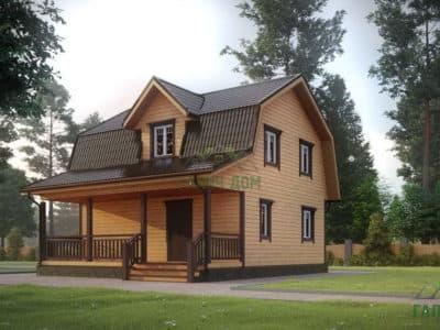 ДБ-12 | Дом из бруса 8х9 с террасой