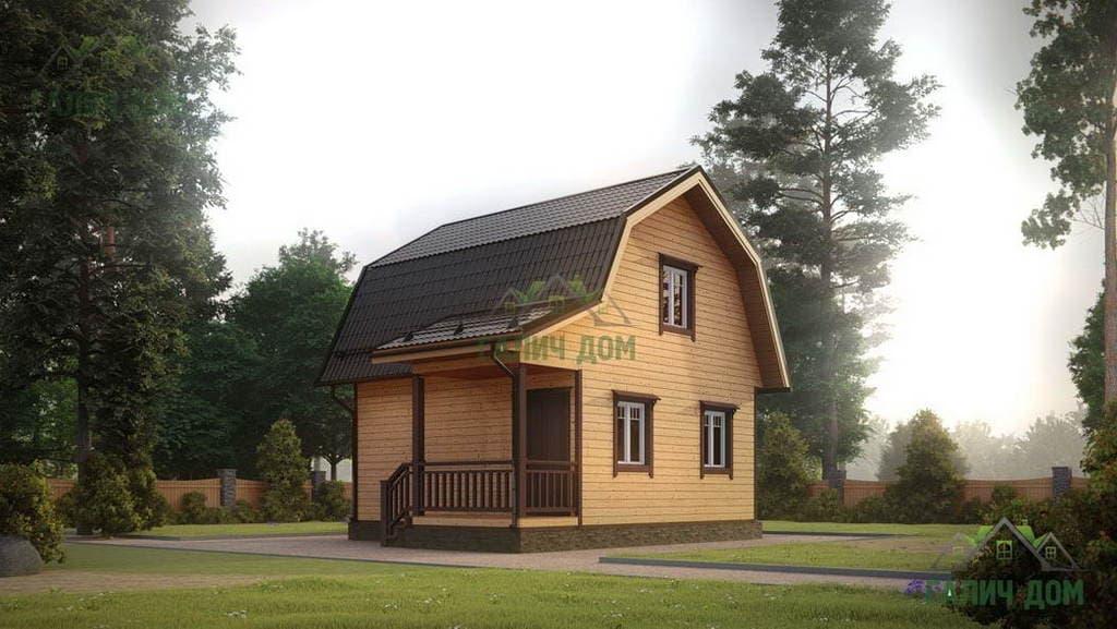 Картинка (1) Дом из бруса 6 на 6 с ломаной крышей (ДБ-7)