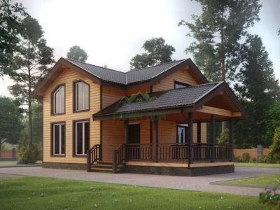 ДБ-193 | Дом из бруса 8х12 с террасой