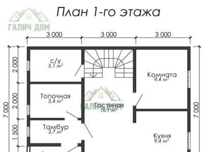 Картинка (5) Планировка 1 этажа дома (ДБ-6)